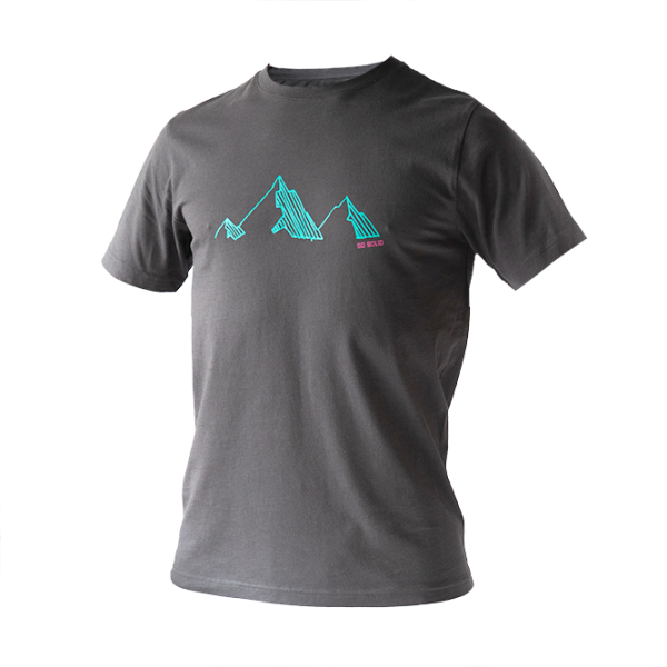 SO SOLID dark gray T-shirt for men with torquoise mountain chest print - organic cotton with rib neck
