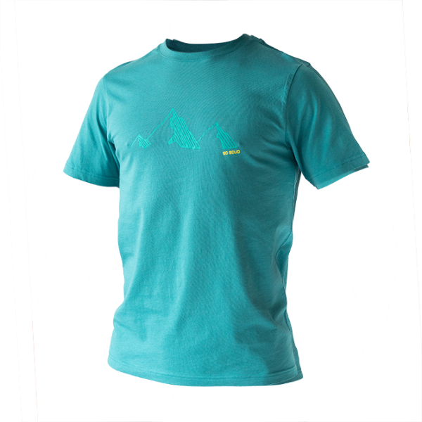 SO SOLID torquoise blue T-shirt for men with tonal torquoise mountain chest print - organic cotton with rib neck