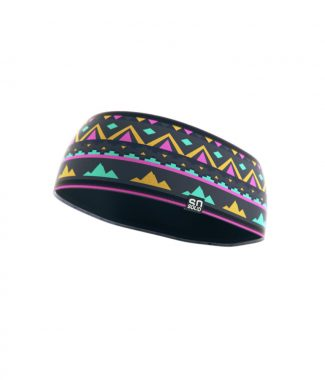 SO SOLID headband with native print in gray with pink and turquoise details made from recycled fisher nets