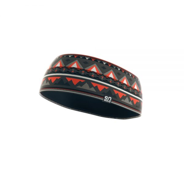 SO SOLID headband with native print in gray and red made from recycled fisher nets