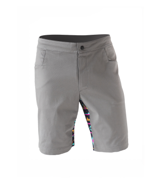gray Rock shorts for climbing with stretch panel in native pink