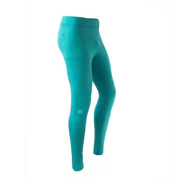 organic cotton leggings for yoga and climbing in torquoise