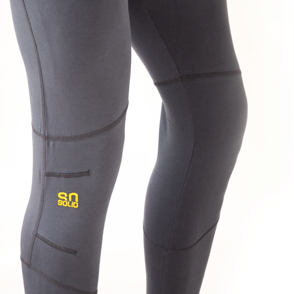 organic cotton leggings for yoga and climbing in gray - with yellow logo embroidery
