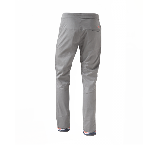 rear view of Rock pants in gray for climbing with stretch panel in native red and zip pocket above knee