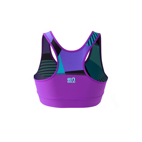 SO SOLID back view of reversible sports bra in turquoise with partial native pattern in violet with tortoise geometric details - made out of recycled nylon