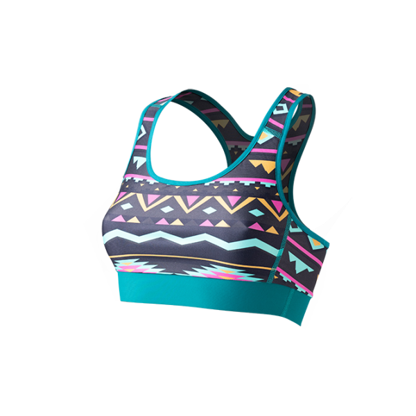 SO SOLID Front view of reversible sports bra in turquoise with native pattern in gray with pink details - made out of recycled nylon