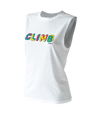 SO SOLID white tank top with colorful climb print on chest - organic cotton and rip neck opening